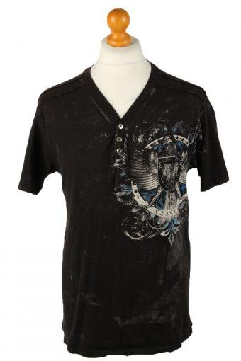 90s T-Shirt Printed Button Neck Black M