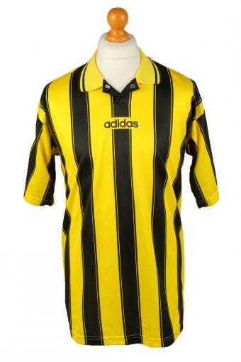 Adidas Football Jersey Shirt Black Yellow Striped Black L