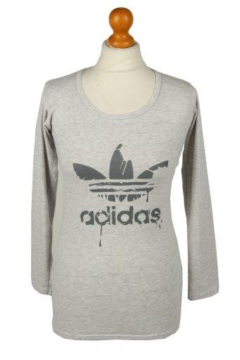 Adidas Womens Shirt Top Trefoil Crew Neck Long Sleeve Grey L