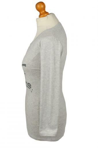 Vintage Adidas Womens Shirt Top Trefoil Crew Neck Long Sleeve L Grey TS642-142966