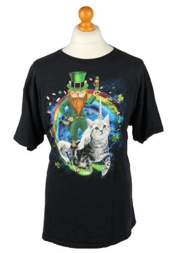 90s Retro T-Shirt Crew Neck Cat Trefoil Printed Black XL