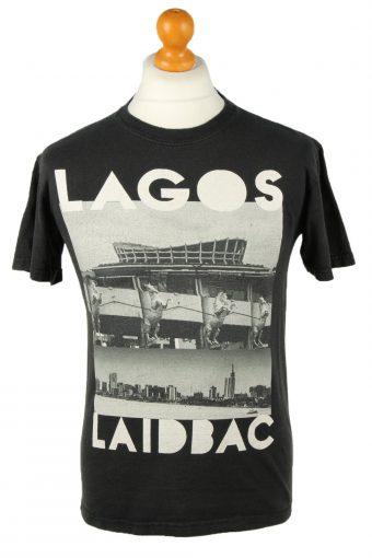 90s Retro T-Shirt Crew Neck Lagos Laid Back Black S