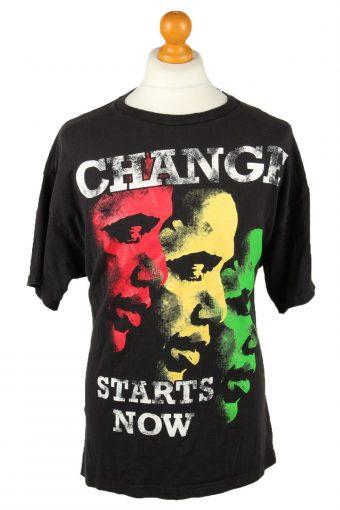 Obama T-Shirt Crew Neck Change Stars Now Black XL