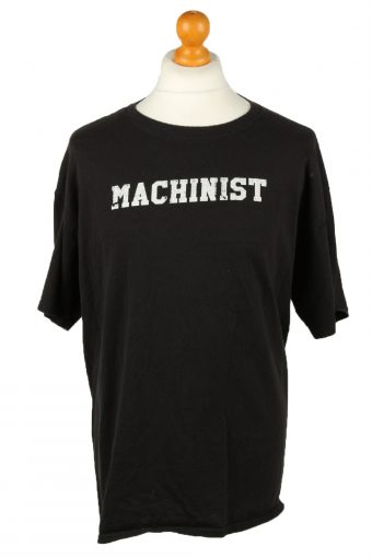 90s Retro T-Shirt Crew Neck Button Pusher Black XL
