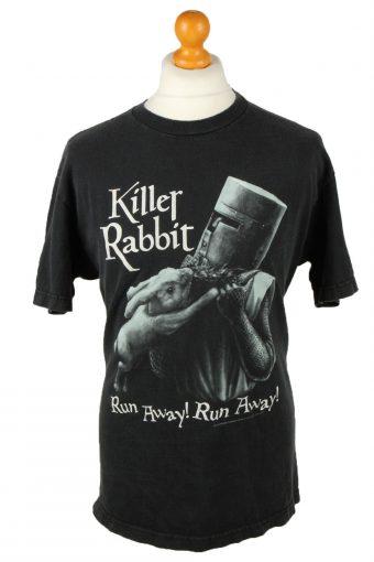 90s Retro T-Shirt Crew Neck Run Away Black L