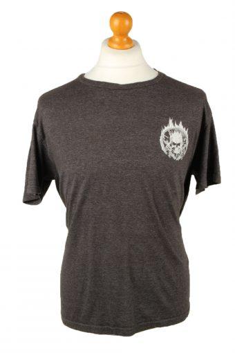 90s Retro T-Shirt Crew Neck Skull Slogan Grey L