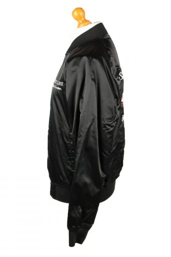 Vintage West Ark Satin Baseball Jacket L Black -C1966-143620
