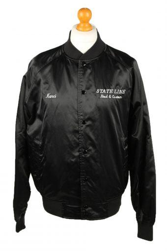 Vintage West Ark Satin Baseball Jacket L Black