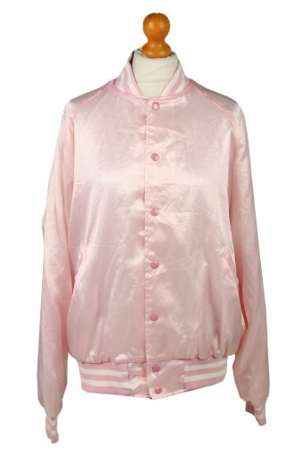 Vintage Satin Baseball Jacket Pink