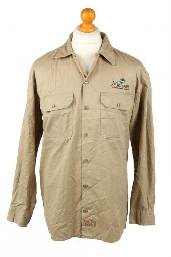 Dickies Work Shirt Workwear Button Up Long Sleeve Camel L