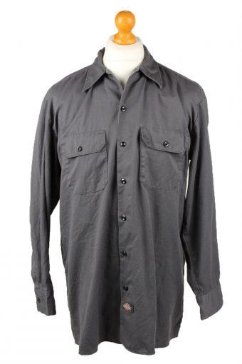 Dickies Work Shirt Workwear Button Up Long Sleeve Dark Grey L