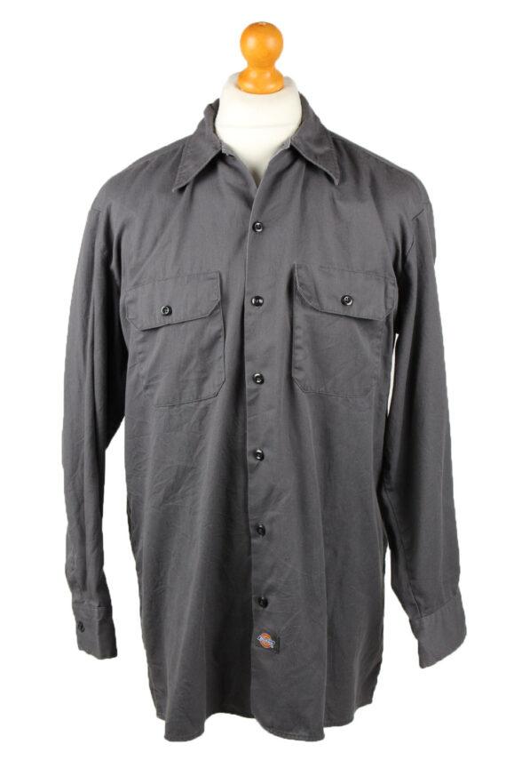 Vintage Dickies Work Shirt Workwear Button Up Long Sleeve L Dark Grey SH4011-0