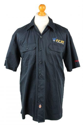 Dickies Work Shirt Workwear Button Up Short Sleeve Navy Blue L