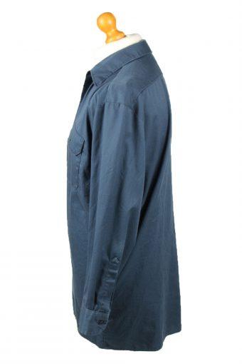 Vintage Dickies Work Shirt Workwear Button Up Long Sleeve L Dark Blue SH4014-143352