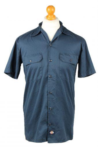 Dickies Work Shirt Workwear Button Up Short Sleeve Dark Blue S