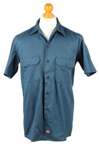 Dickies Work Shirt Workwear Button Up Short Sleeve Dark Blue M