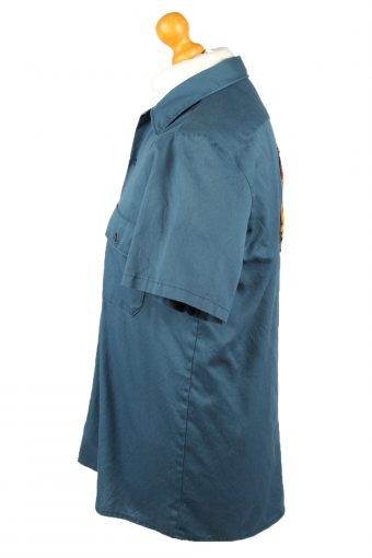 Vintage Dickies Work Shirt Workwear Button Up Short Sleeve M Dark Blue SH4016-143360