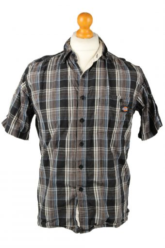 Dickies Work Shirt Workwear Button Up Check Short Sleeve Multi M
