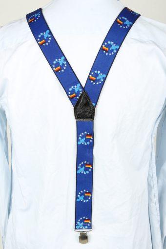 Vintage Adjustable Elastic Braces Suspenders 90s Blue BS001-143827