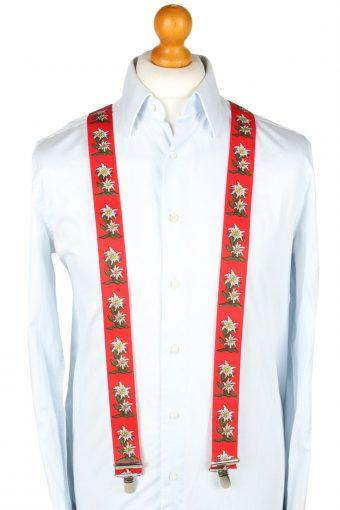 Vintage Adjustable Elastic Braces Suspenders 90s Red