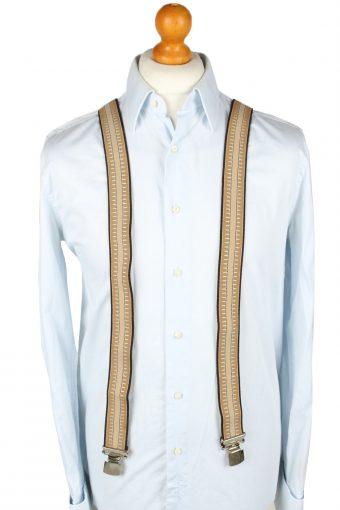 Vintage Adjustable Elastic Braces Suspenders 70s Brown