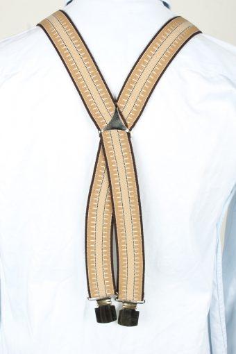 Vintage Adjustable Elastic Braces Suspenders 70s Brown BS003-143833