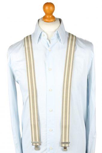Vintage Adjustable Elastic Braces Suspenders 90s Cream