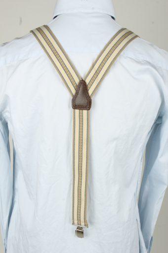 Vintage Adjustable Elastic Braces Suspenders 90s Cream BS006-143842