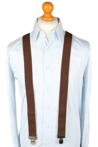 Vintage Adjustable Elastic Braces Suspenders 90s Brown