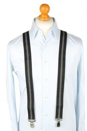 Vintage Adjustable Elastic Braces Suspenders 80s Black