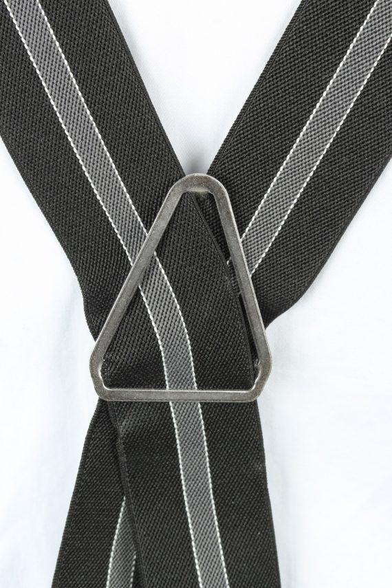 Vintage Adjustable Elastic Braces Suspenders 80s Black BS011-143858