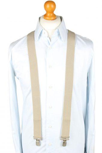 Vintage Adjustable Elastic Braces Suspenders 80s Cream