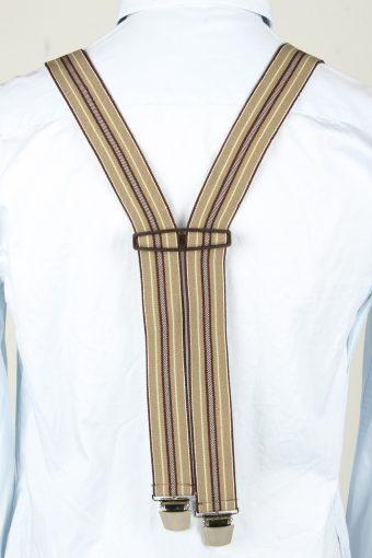 Vintage Adjustable Elastic Braces Suspenders 70s Brown BS013-143863
