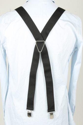 Vintage Adjustable Elastic Braces Suspenders 80s Black BS014-143866
