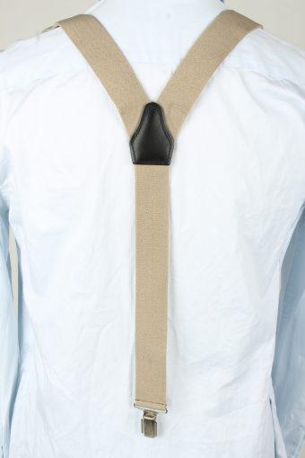 Vintage Adjustable Elastic Braces Suspenders 80s Cream BS017-143875