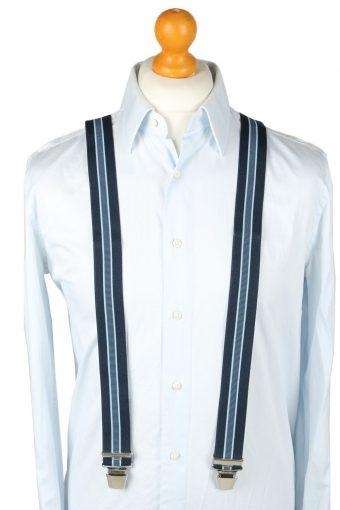 Vintage Adjustable Elastic Braces Suspenders 80s Navy