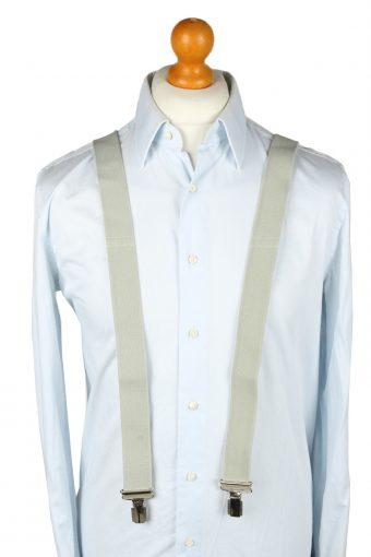 Vintage Adjustable Elastic Braces Suspenders 80s Light Grey