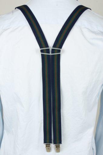 Vintage Adjustable Elastic Braces Suspenders 80s Dark Blue BS020-143884