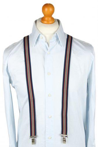 Vintage Adjustable Elastic Braces Suspenders 80s Dark Blue