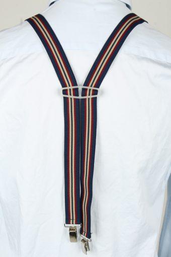 Vintage Adjustable Elastic Braces Suspenders 80s Dark Blue BS022-143890