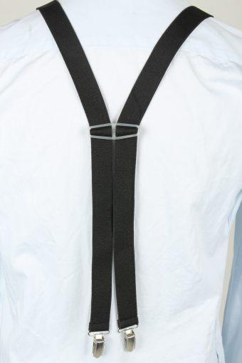 Vintage Adjustable Elastic Braces Suspenders 80s Black BS023-143893