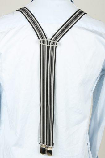 Vintage Adjustable Elastic Braces Suspenders 80s Black BS024-143896