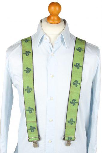 Vintage Adjustable Elastic Braces Suspenders 90s Green