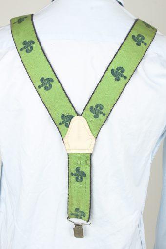 Vintage Adjustable Elastic Braces Suspenders 90s Green BS029-143911