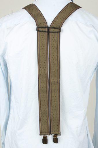 Vintage Adjustable Elastic Braces Suspenders 70s Brown BS030-143914