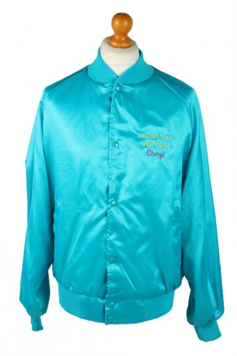 Vintage Westark Unisex Satin Baseball Bomber Jacket L Turquoise