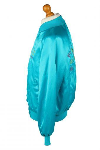 Vintage Westark Unisex Satin Baseball Bomber Jacket L Turquoise -C1985-144692