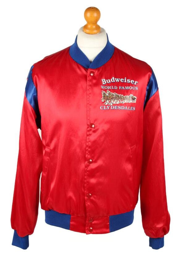 Vintage Budweiser Mens Satin Baseball Bomber Jacket Red -C1996-0