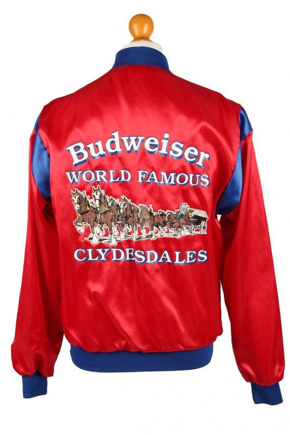 Vintage Budweiser Mens Satin Baseball Bomber Jacket Red -C1996-144737