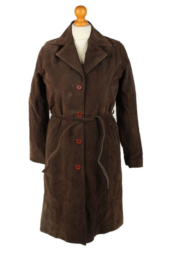 Vintage Womens Collezione Suede Jacket Coat L Dark Brown -C2004-0